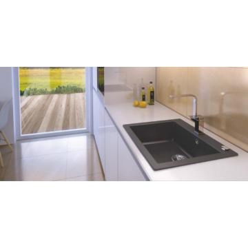 MOJITO 60 egymedencés gránit mosogató automata dugóemelő, szifonnal, fekete-szemcsés