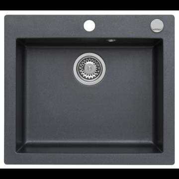 MOJITO 60 egymedencés gránit mosogató automata dugóemelő, szifonnal, fekete-szemcsés fényes