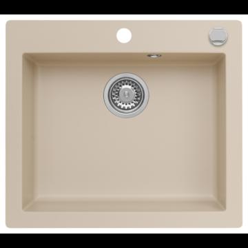 MOJITO 60 egymedencés gránit mosogató automata dugóemelő, szifonnal, bézs