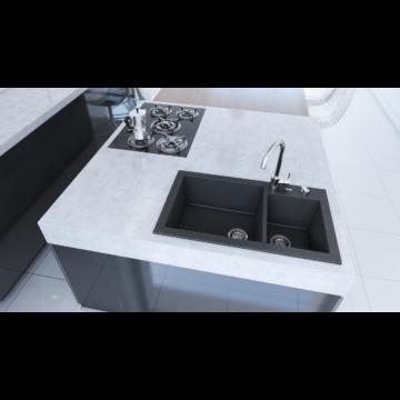 A-POINT 140 kétmedencés gránit mosogató automata dugóemelő, szifonnal, fekete-szemcsés