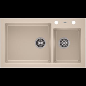 A-POINT 140 kétmedencés gránit mosogató automata dugóemelő, szifonnal, bézs