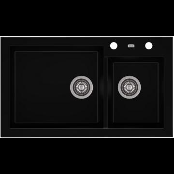 A-POINT 140 kétmedencés gránit mosogató automata dugóemelő, szifonnal, fekete