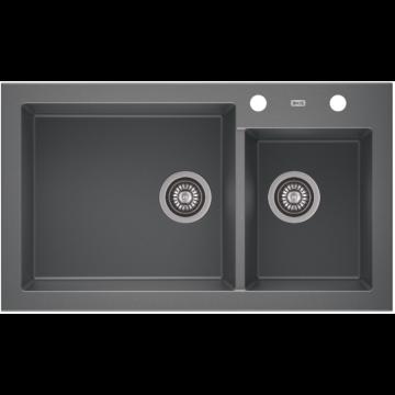 A-POINT 140 kétmedencés gránit mosogató automata dugóemelő, szifonnal, szürke