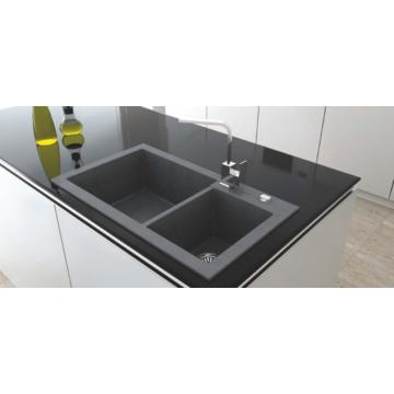 A-POINT 140 kétmedencés gránit mosogató automata dugóemelő, szifonnal, fekete-szemcsés fényes