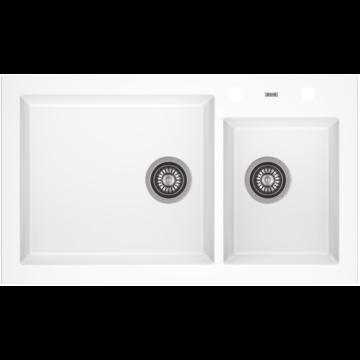 A-POINT 140 kétmedencés gránit mosogató automata dugóemelő, szifonnal, fehér