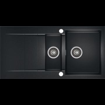 CASCADA 150 gyümölcsmosós gránit mosogató automata dugóemelő, szifonnal, fekete-szemcsés fényes