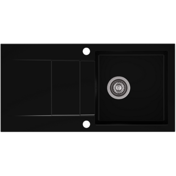 CASCADA 40 egymedencés gránit mosogató csepptálcával, szifonkészlet, fekete