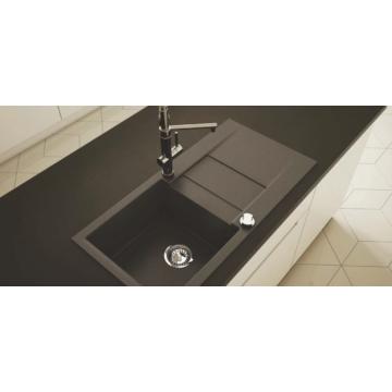 CASCADA 40 egymedencés gránit mosogató csepptálcával, szifonkészlet, fekete-szemcsés