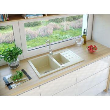 AVIGNON gyümölcsmosós gránit mosogató automata dugóemelő, szifonnal, bézs
