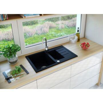 AVIGNON gyümölcsmosós gránit mosogató automata dugóemelő, szifonnal, fekete
