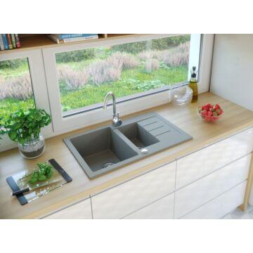 AVIGNON gyümölcsmosós gránit mosogató automata dugóemelő, szifonnal, szürke