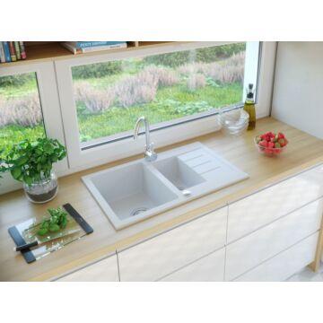 AVIGNON gyümölcsmosós gránit mosogató automata dugóemelő, szifonnal, fehér
