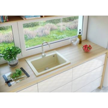 NIZZA egymedencés gránit mosogató automata dugóemelő, szifonnal, bézs