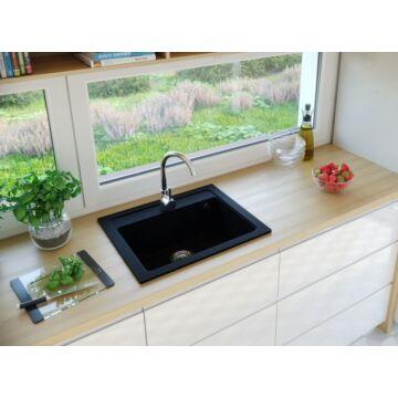NIZZA egymedencés gránit mosogató automata dugóemelő, szifonnal, fekete