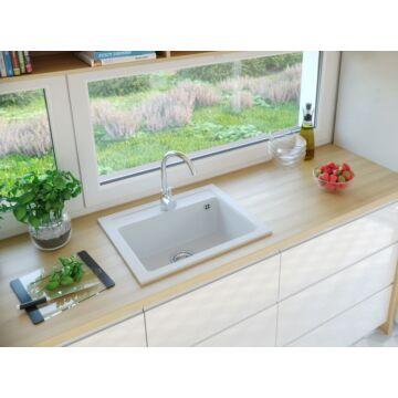 NIZZA egymedencés gránit mosogató automata dugóemelő, szifonnal, fehér