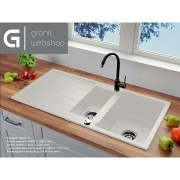 Next2 gyümölcsmosós gránit mosogató automata dugóemelő, szifonnal, fehér