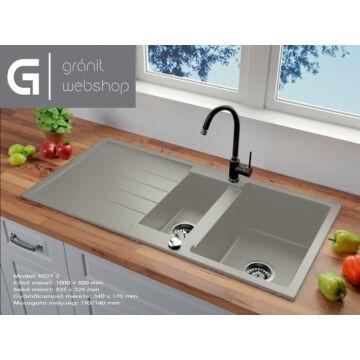 Next2 gyümölcsmosós gránit mosogató automata dugóemelő, szifonnal, szürke