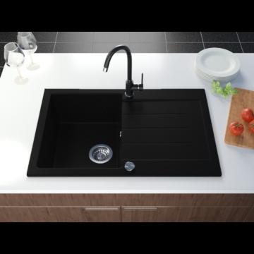 Roxy egymedencés gránit mosogató csepptálcával, automata dugóemelő, szifonkészlet, fekete