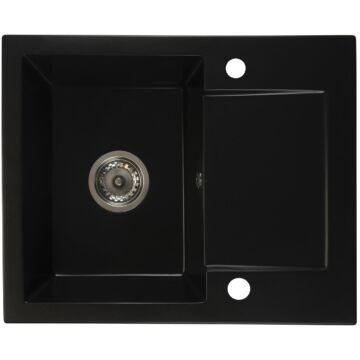DONZO egymedencés gránit mosogató automata dugóemelő, szifonnal, fekete