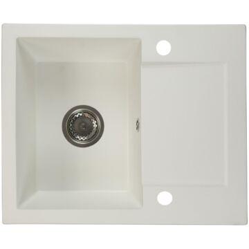 DONZO egymedencés gránit mosogató automata dugóemelő, szifonnal, fehér