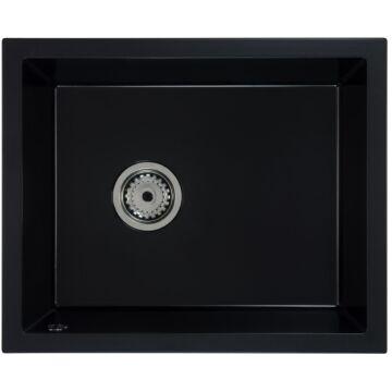 FELEIX 50 egymedencés gránit mosogató automata dugóemelő, szifonnal, fekete