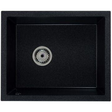 FELEIX 50 egymedencés gránit mosogató automata dugóemelő, szifonnal, fekete-szemcsés