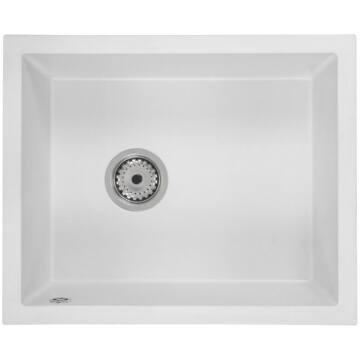 FELEIX 50 egymedencés gránit mosogató automata dugóemelő, szifonnal, fehér