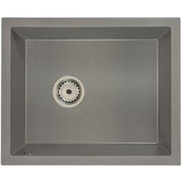 FELEIX 50 egymedencés gránit mosogató automata dugóemelő, szifonnal, szürke