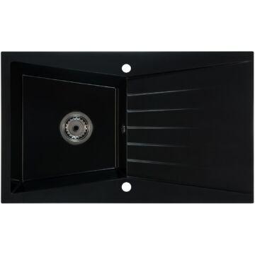 RUBIN egymedencés gránit mosogató csepptálcával, automata dugóemelő, szifonkészlet, fekete