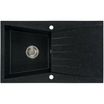 RUBIN egymedencés gránit mosogató csepptálcával, automata dugóemelő, szifonkészlet, fekete-szemcsés