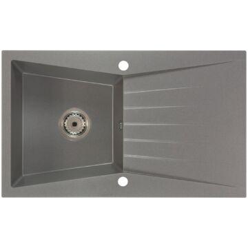 RUBIN egymedencés gránit mosogató csepptálcával, automata dugóemelő, szifonkészlet, szürke