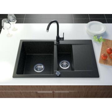 Como mosogató szett 3 féle választható csapteleppel (Beta, Move, Steel) automata szűrőkosaras leeresztővel, szifonnal fekete-szemcsés színben