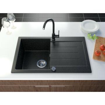 Roxy gránit mosogató szett 3 féle választható csapteleppel (Beta, Move, Steel) automata szűrőkosaras leeresztővel, szifonnal fekete-szemcsés színben