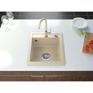 Start Don egymedencés gránit mosogató automata dugóemelő, szifonnal, bézs-szemcsés