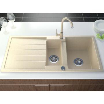Next2 gyümölcsmosós gránit mosogató automata dugóemelő, szifonnal, bézs-szemcsés