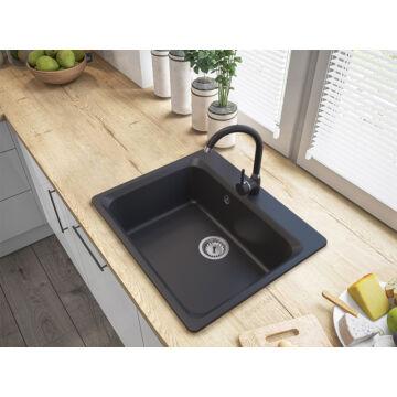 Lille egymedencés gránit mosogató automata dugóemelő, szifonnal, fekete