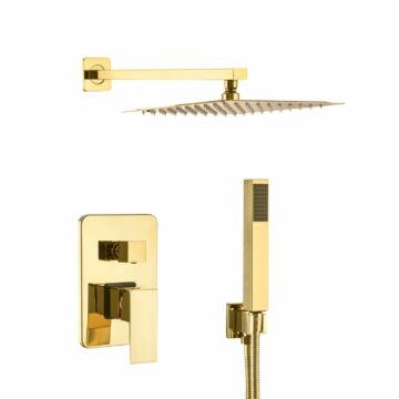 Zen6 fürdőszobai zuhanyszett beépíthető fali keverőcsappal és esőztető zuhanyfejjel arany