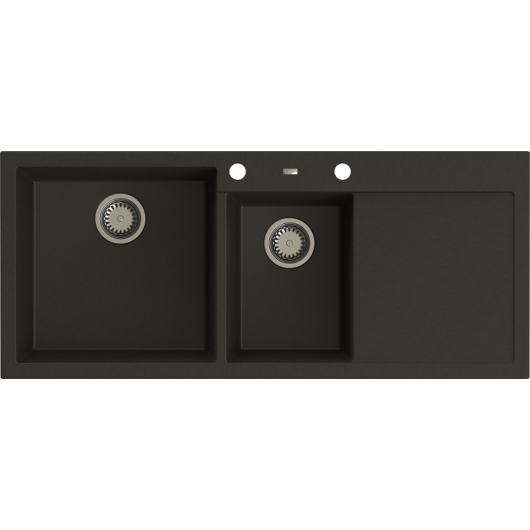 A-POINT 180 kétmedencés csepegtetőtálcás gránit mosogató automata dugóemelő, szifonnal, fekete-szemcsés fényes, balos
