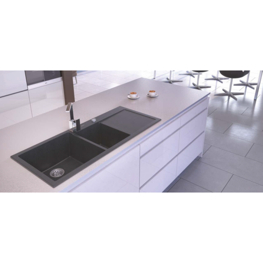A-POINT 180 kétmedencés csepegtetőtálcás gránit mosogató automata dugóemelő, szifonnal, fekete-szemcsés