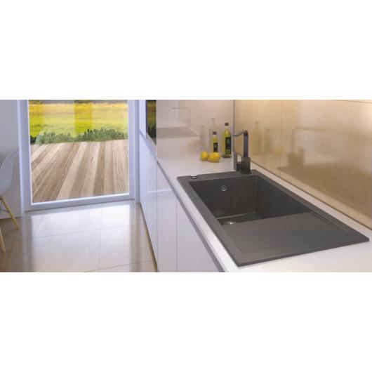 A-POINT 40 egymedencés gránit mosogató csepptálcával, automata dugóemelő, szifonkészlet, fekete-szemcsés
