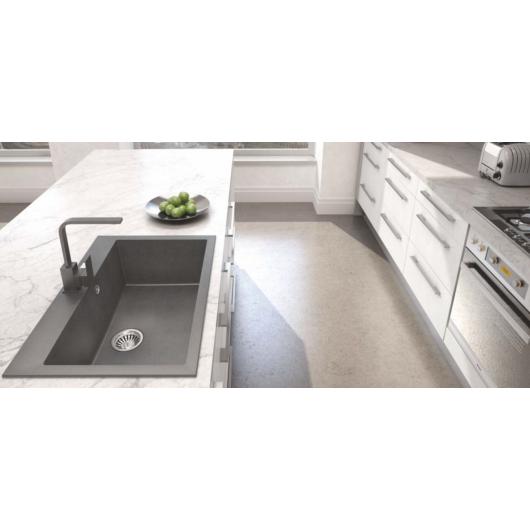 A-POINT 60 egymedencés gránit mosogató automata dugóemelő, szifonnal, fekete-szemcsés
