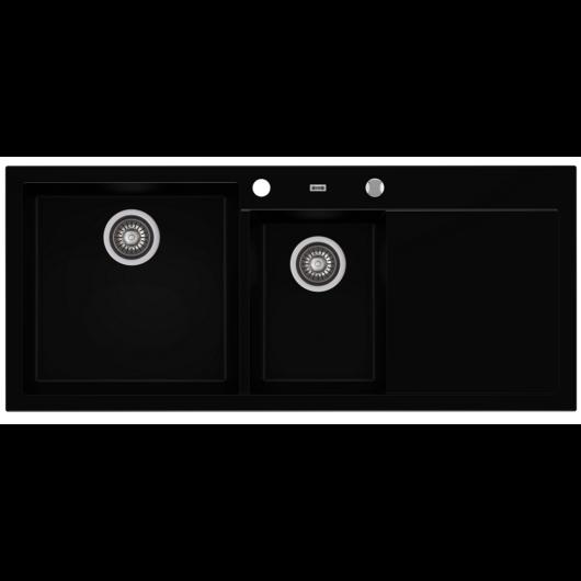 A-POINT 180 kétmedencés csepegtetőtálcás gránit mosogató automata dugóemelő, szifonnal, fekete, balos