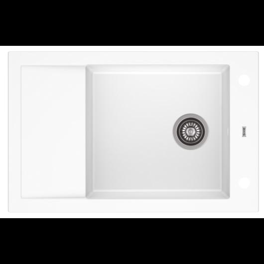 A-POINT 40 egymedencés gránit mosogató csepptálcával, automata dugóemelő, szifonkészlet, fehér