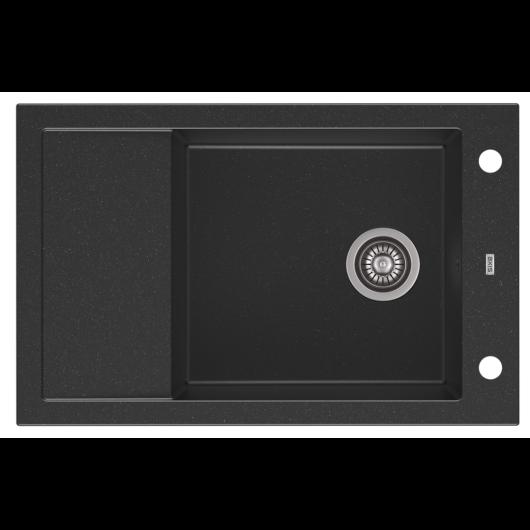 A-POINT 40 egymedencés gránit mosogató csepptálcával, automata dugóemelő, szifonkészlet, fekete