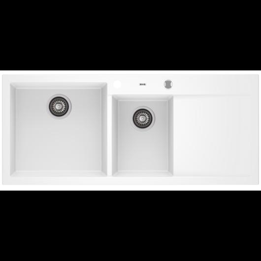 A-POINT 180 kétmedencés csepegtetőtálcás gránit mosogató automata dugóemelő, szifonnal, fehér, balos