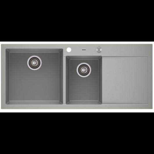 A-POINT 180 kétmedencés csepegtetőtálcás gránit mosogató automata dugóemelő, szifonnal, szürke, balos