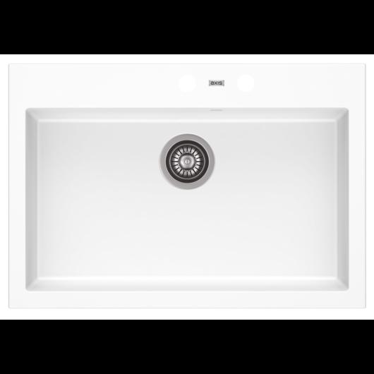 A-POINT 60 egymedencés gránit mosogató automata dugóemelő, szifonnal, fehér