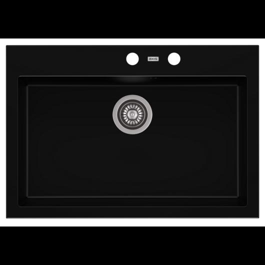 A-POINT 60 egymedencés gránit mosogató automata dugóemelő, szifonnal, fekete
