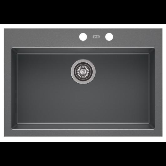 A-POINT 60 egymedencés gránit mosogató automata dugóemelő, szifonnal, szürke