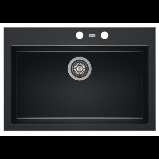 A-POINT 60 egymedencés gránit mosogató automata dugóemelő, szifonnal, fekete-szemcsés fényes